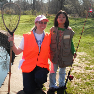 volunteer w girl rod net